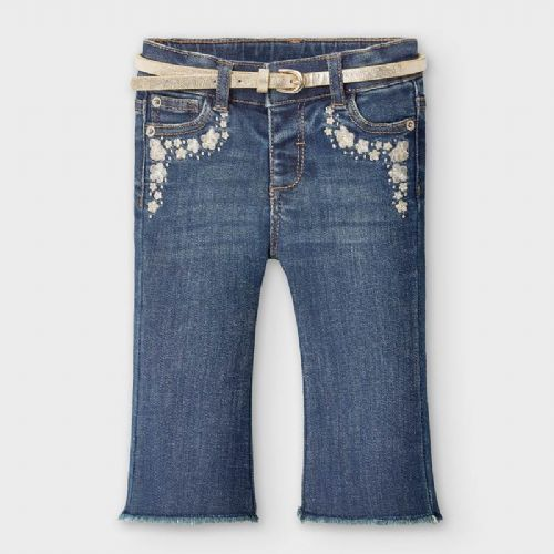 Denim Jeans with Gold Belt and Embroidery 6 Months